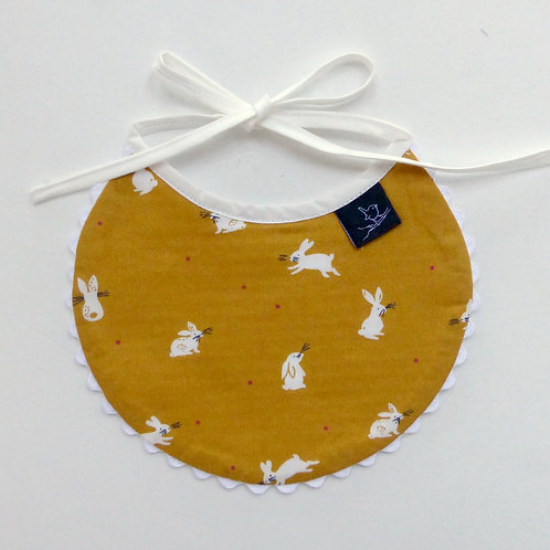 Little Wren Patterned Bib Mustard Bunnies