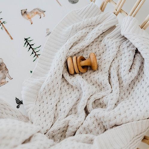 Snuggle Hunny Kids Diamond Knit Baby Blanket   Warm Grey