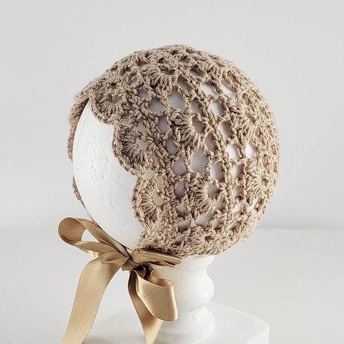 Camel Cotton Crochet Bonnet | Small