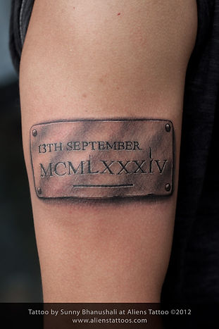 Metal Badge with DOB Tattoo