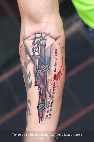 F1 Race Car Tattoo (Cover-Up)