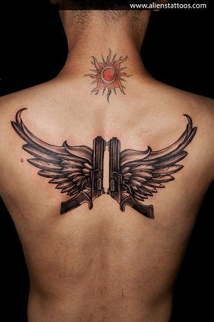 Guns with Wings Tattoo