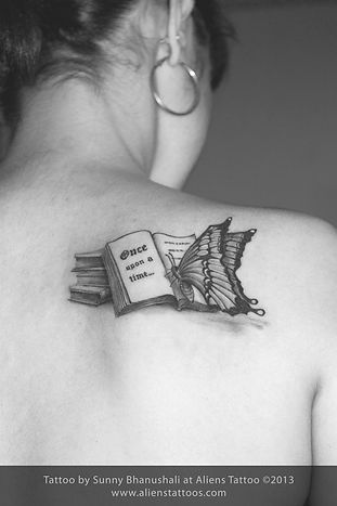 Butterfly reading Book Tattoo