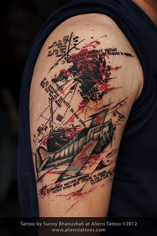Abstract Plane Tattoo (Cover Up)