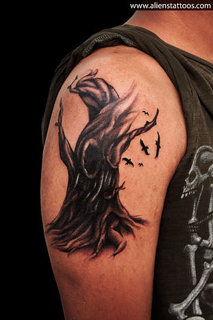 Demonic Tree Tattoo (cover up)