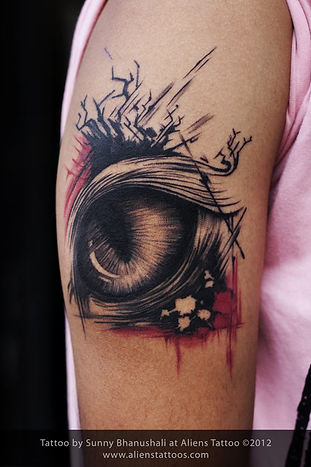 Abstract Cat Eye Tattoo