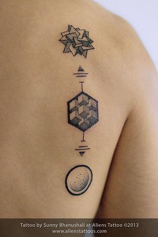Metatron Cubes Dotwork Tattoo