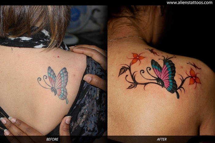 Butterfly with flowers (Extension Tattoo)