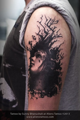 Abstract Portrait with Tree Tattoo