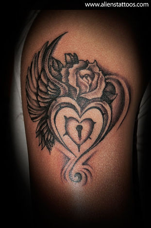 Heart with Wings and Rose Tattoo