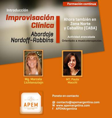 Formacion contina para musicoterapeutas Improvisacion Clinica Nordoff Robbins Caballito Buenos Aires Argentina Beccar Zona Norte
