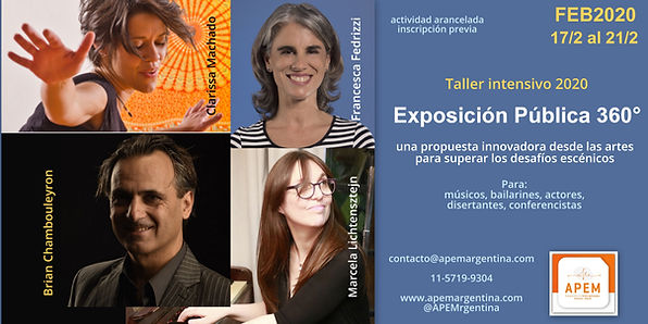 Taller Intensivo 2020 para actores, musicos, bailarines, conferencistas, disertantes