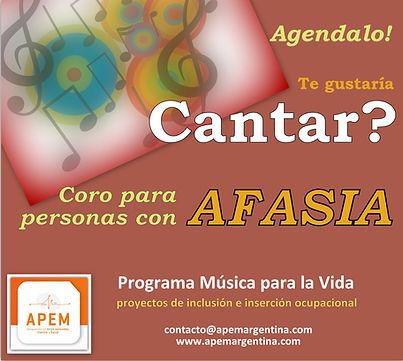 Coro para Personas con Afasia en Beccar Caballito Zona Norte Buens Aires