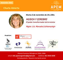 Musica y Cerebro Charla Gratuita en Alianza Francesa de Marcela Lichtensztejn