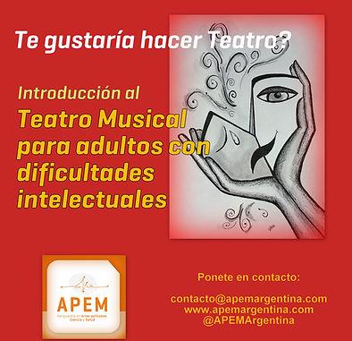Teatro Musical para jovenes y adultos con dificltades intelectuales autismo sindrome de down asperger traumatismo de craneo Belgrano Caballito Buenos Aires