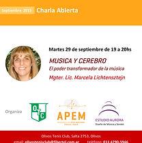 Musica y Cerebro charla de Marcela Lichtensztejn en el Auditorio Olivos Tenis Club, Olivos, Buenos Aires