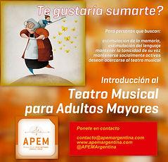 Teatro Musical Adultos Mayores en Caballito y Beccar Zona Norte en Estudio Aurora 33