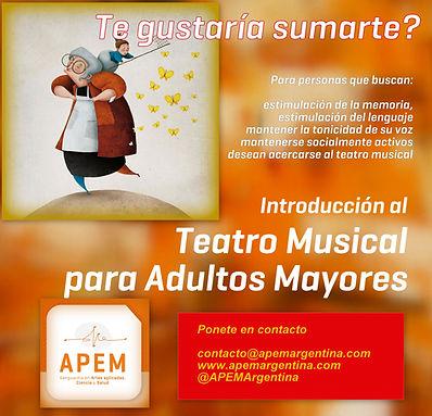 teatro musical para adultos mayores alzheimer trastornos de la memoria deterioro cognitivo Belgrano Caballito Buenos Aires