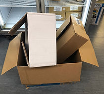 Cardboard boxes waiting to be re used Ma