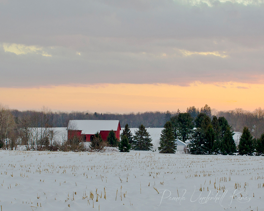 Red Barn Evening Light