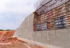 The construction of a retaining wall (co
