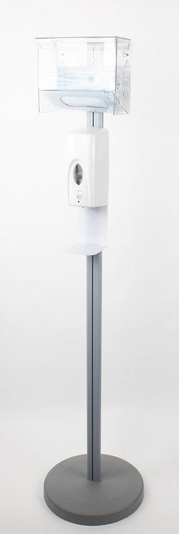Стойка S12001 с бесконтактным дозатором и диспенсером для масок