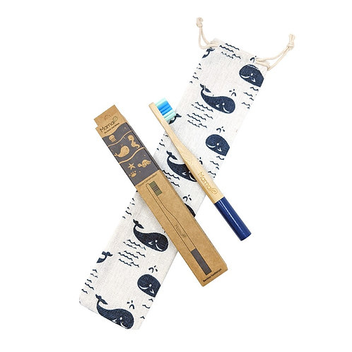 Travel Bamboo Toothbrush + Whales Cotton Linen Travel Bag