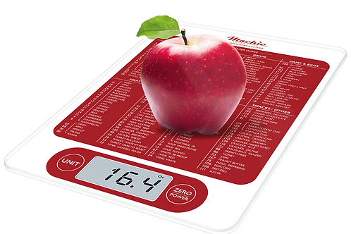 Mackie C19 Kitchen Food and Multifuction Calorie Scale New Product, Red & White