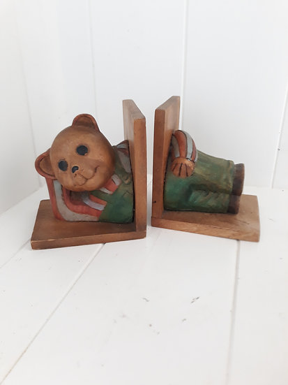 Teddy Bear Timber Book Ends
