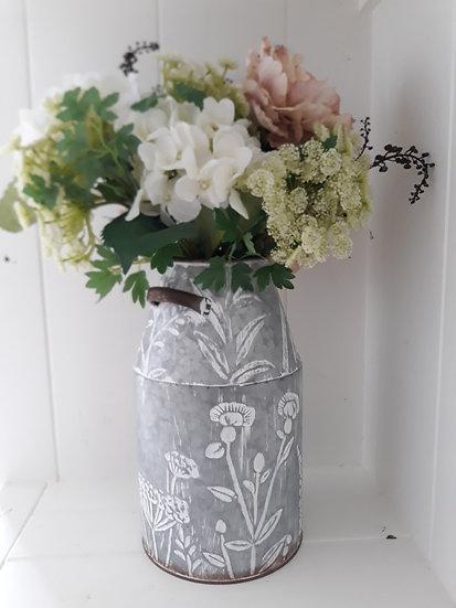 Galvanised Tin Floral Rustic Vase