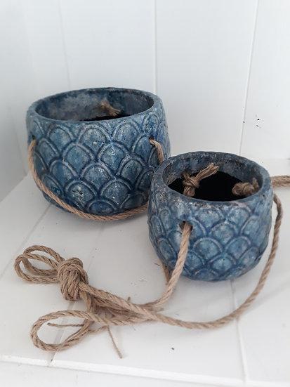 large pineapple denim blue hanging indoor pot