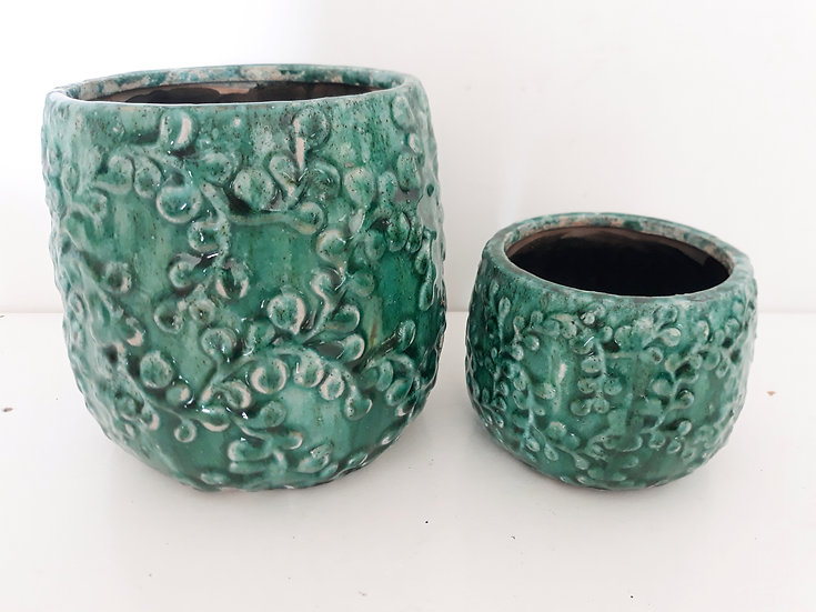 indoor pot tauranga, indoor pot katikati, indoor pot floral, floral & old, floral and old, emerald green pot, decorative pot