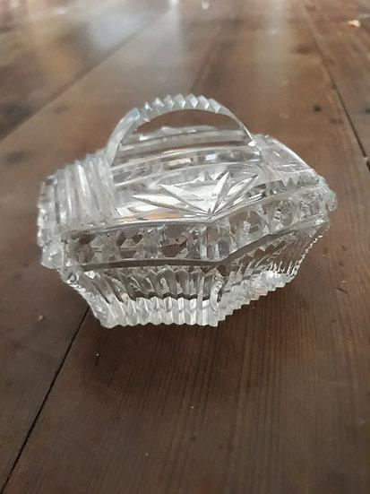 Deco glass vintage trinket box
