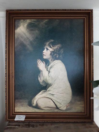Vintage Child Praying in the Light Framed Print