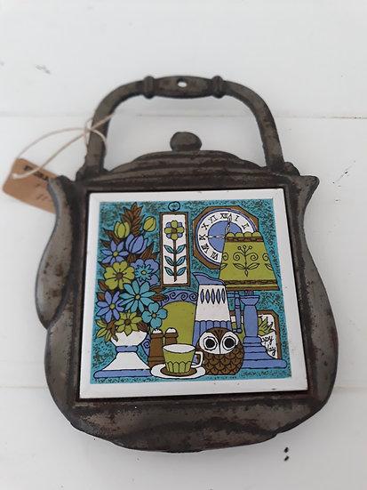 Tea Pot Trivet Metal Ceramic Tile Owl