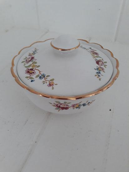Floral White Gold Rimmed Sadler Trinket Dish