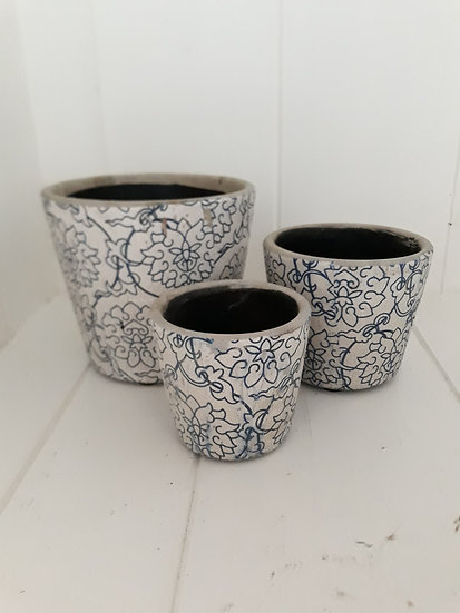 Large blue white floral indoor pot