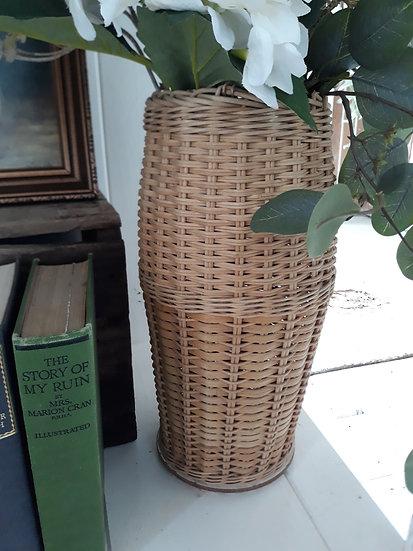 Tall Vintage Cane Vase or Toilet Roll Holder