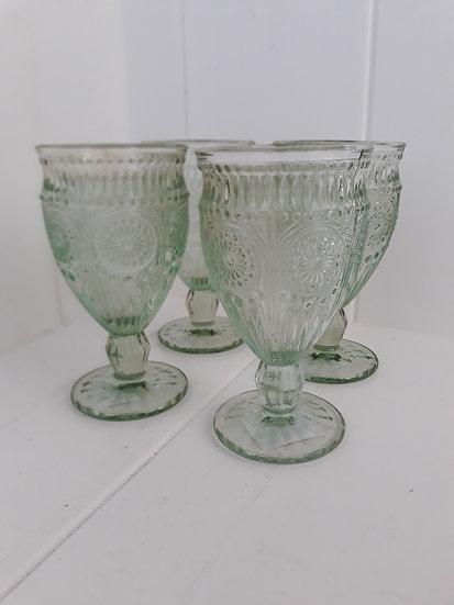 Soft green vintage wine glasses