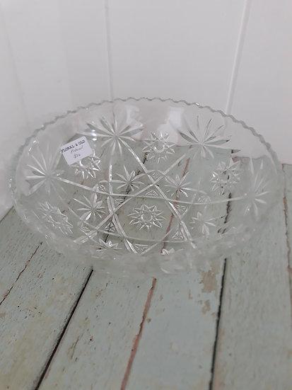 Large Vintage Cut Glass Salad Bowl