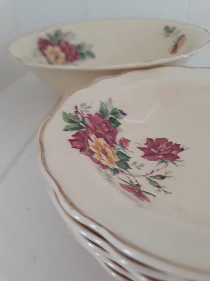 Set of 7 Cream Floral Vintage Floral Bowls