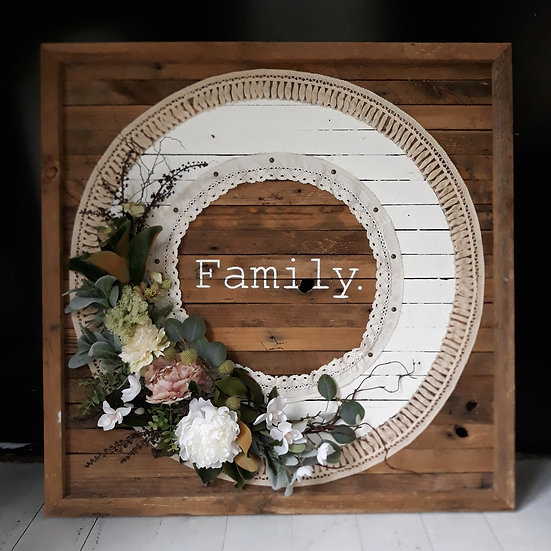 Timber 'Family' 1m x 1m Lace Wreath Art