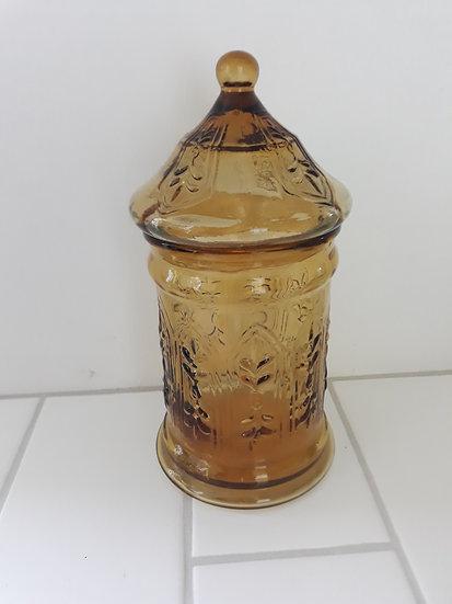 Amber lidded ornate storage jar