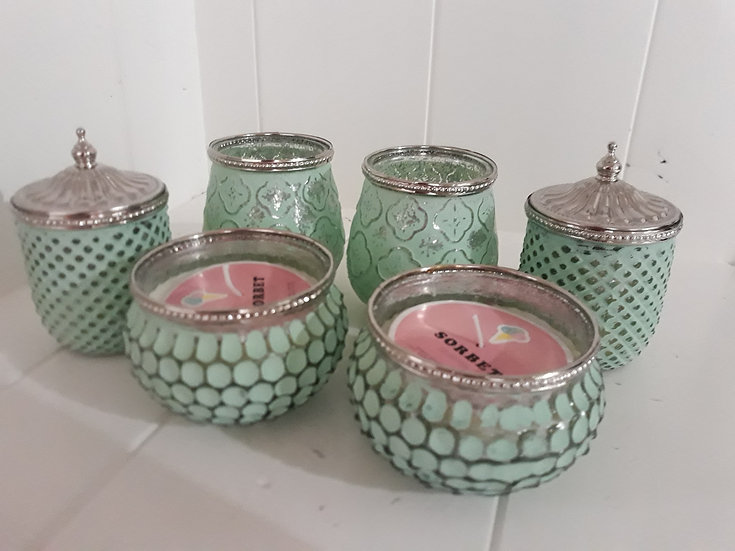 Spearmint green and vintage silver candle