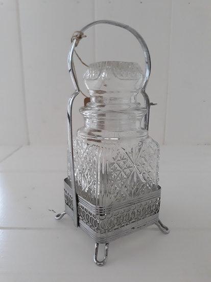 Vintage Cut Glass and Metal Storage Jar