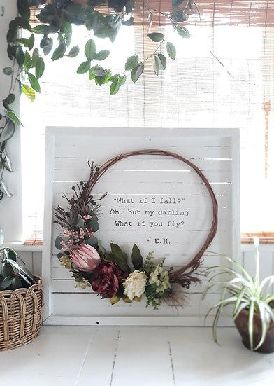 White Timber 'What if I Fall' 80x80cm Wreath Art