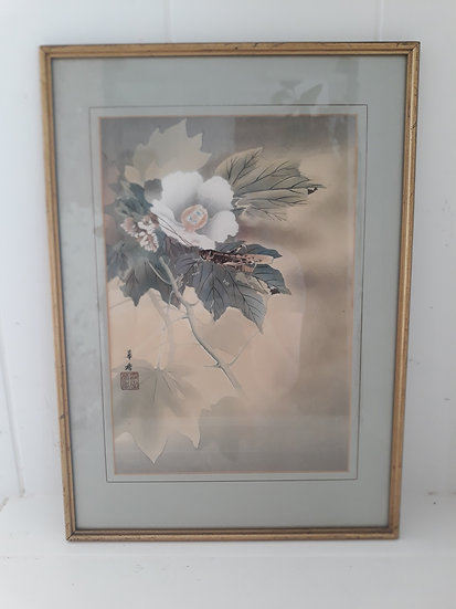 Cicada Anemone Oriental Gold Framed Print