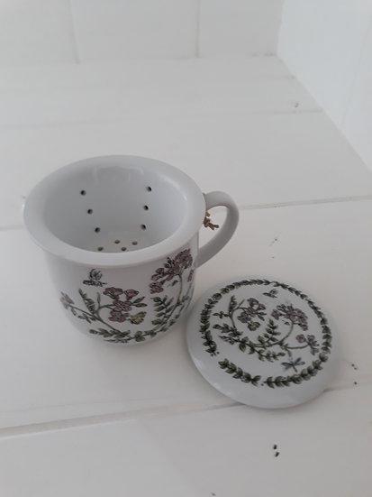Preloved Ceramic Mug with Strainer and Lid Floral
