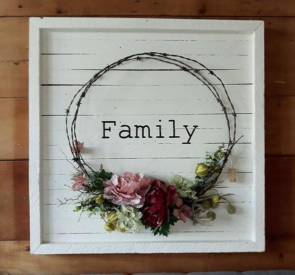 wreath art, rustic art, floral & old, floral and old, white pink art, vintage, wreath tauranga katikati, wedding, phrases art