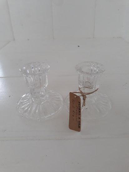 Set of 2 Vintage Glass Candlesticks